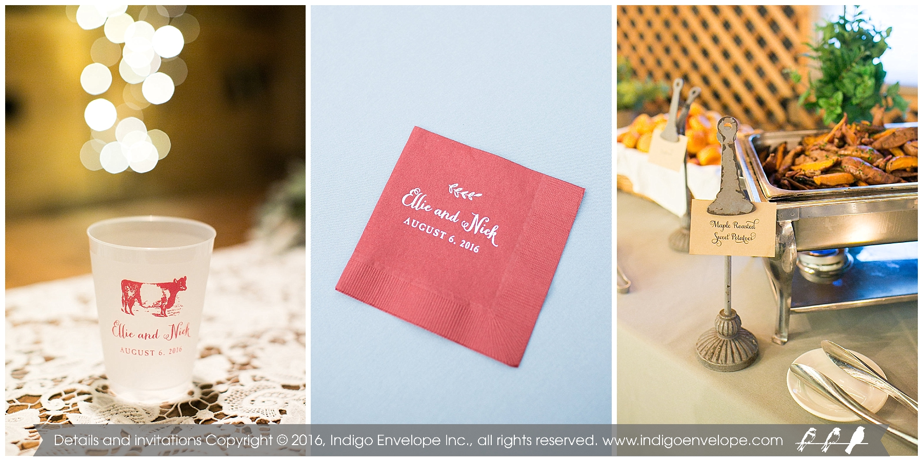 Fearrington Wedding, branded signs, drinkware, and napkins