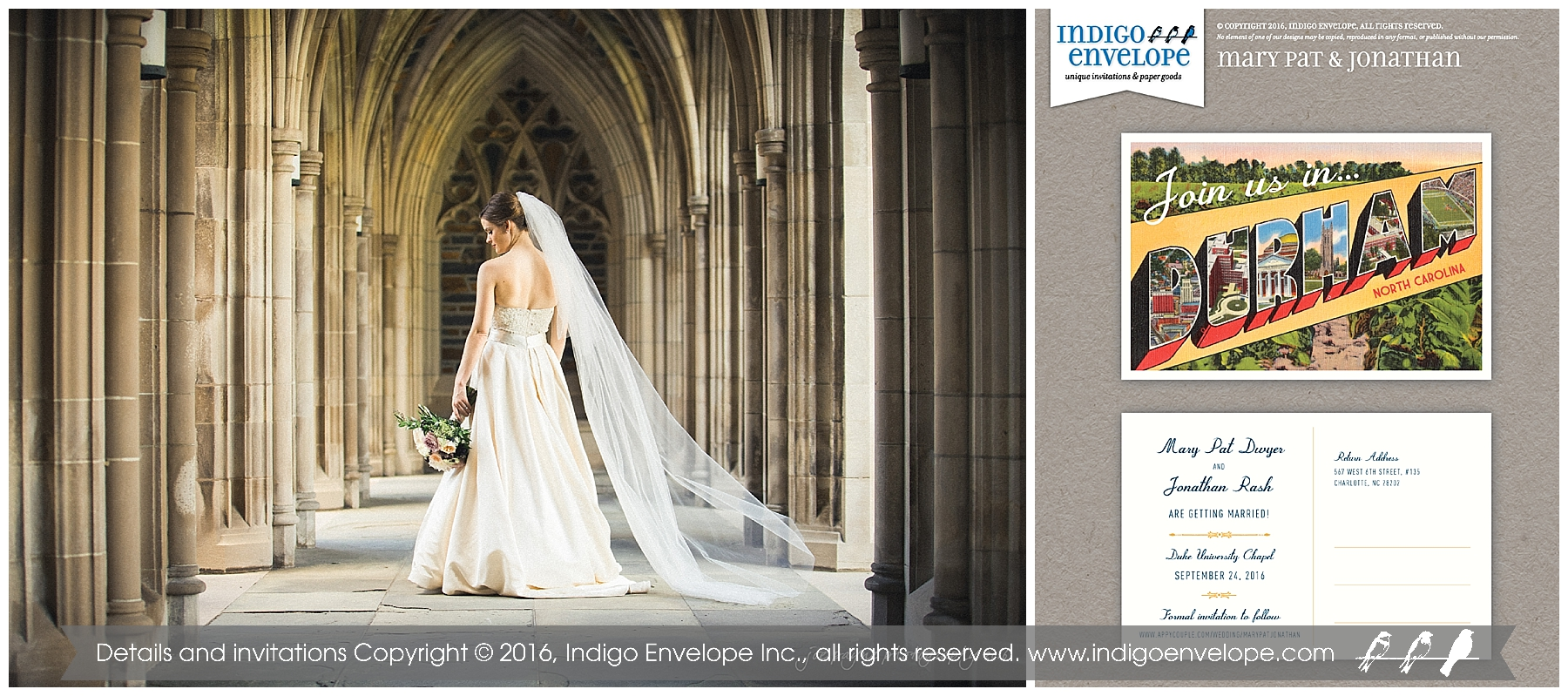 Indigo Envelope - Duke Chapel Wedding