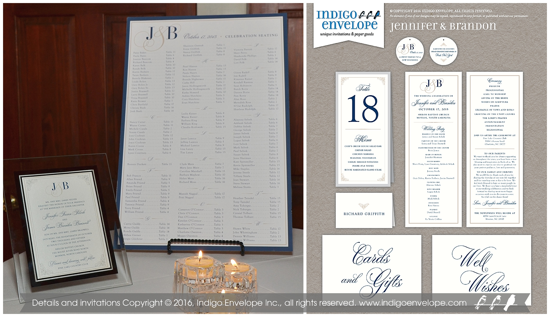 Indigo Envelope -Traditional Navy Invitations