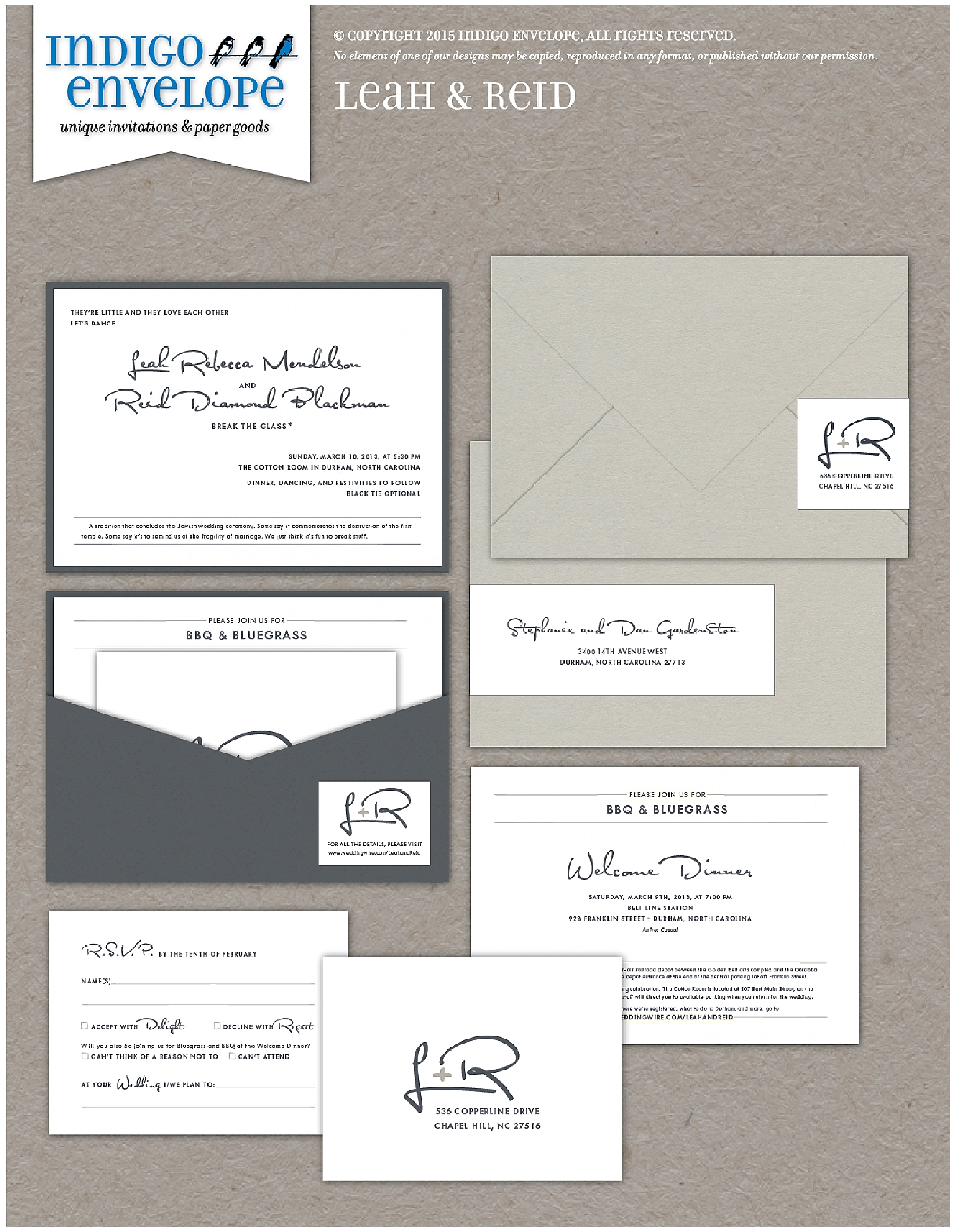 Indigo Envelope Modern Typographic Wedding