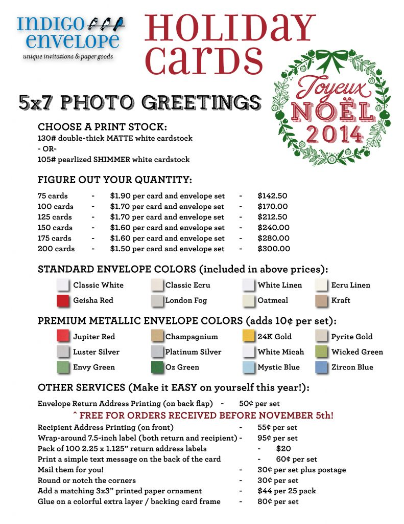 Holiday Cards Pricing 2014