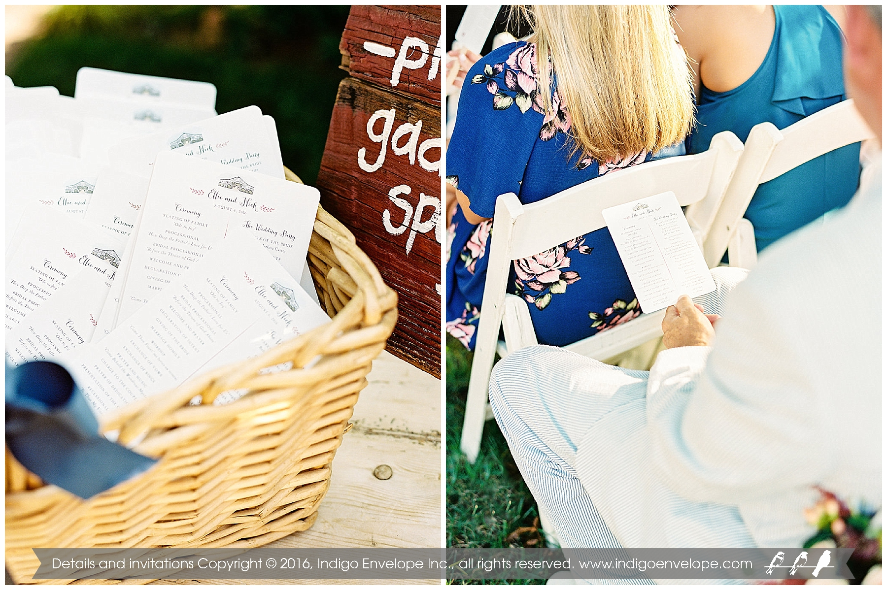 Program Fans for Rustic Fearrington Barn Wedding