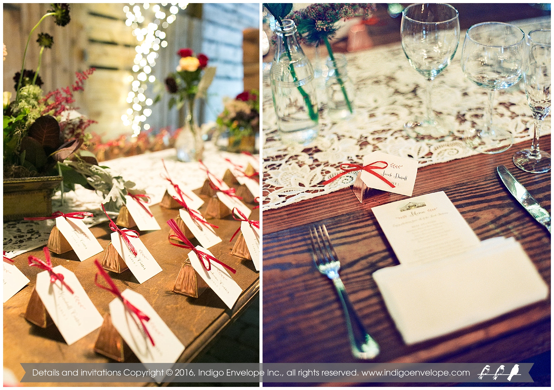Cowbell Place Cards and Menus for Rustic Fearrington Barn Wedding