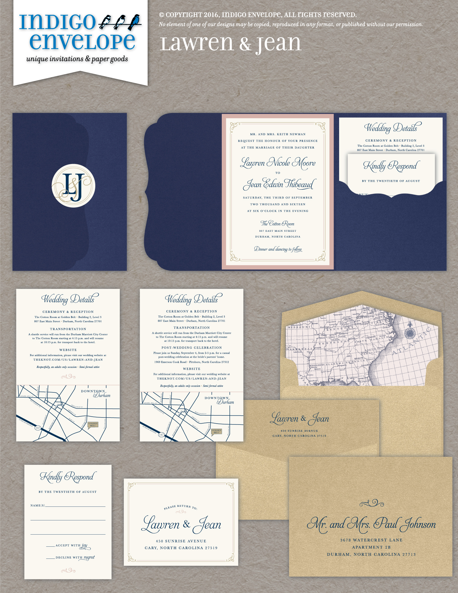Indigo Envelope Monogrammed Wedding Invitation