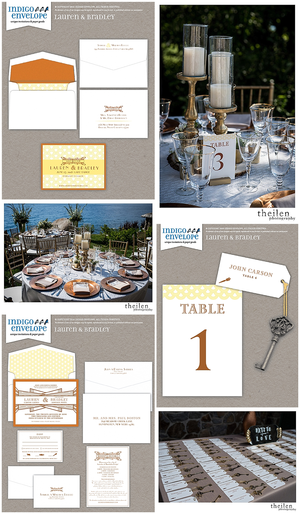 IndigoEnvelope-Art Deco Wedding Invitations - Lake Tahoe